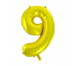 "Folinis balionas ""9"", auksinis (85 cm)"