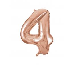 """Folinis balionas-skaičius """"4"""", rožinis auksas (85 cm)"""