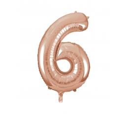 """Folinis balionas-skaičius """"6"""", rožinis auksas (85 cm)"""