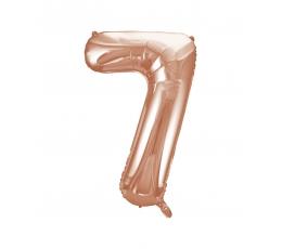 """Folinis balionas-skaičius """"7"""", rožinis auksas (85 cm)"""