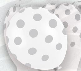 Balionai, taškuotai sidabriniai (6 vnt./30 cm)