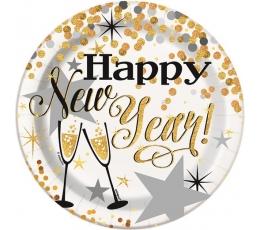 """Lėkštutės """"Happy New Year"""" (8 vnt./18 cm)"""