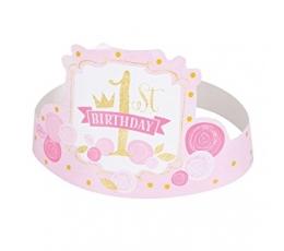 """Karūnėlės """"1-asis gimtadienis"""", rožinės-auksinės (6 vnt.)"""