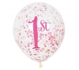 """Balionai """"1-asis gimtadienis"""",  su rožiniais konfeti (6 vnt.)"""
