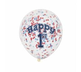 """Balionai """"1-asis gimtadienis"""", su raudonais-mėlynais konfeti (6 vnt.)"""