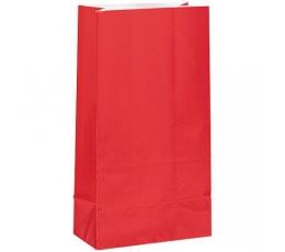 Skanėstų-dovanų maišeliai, raudoni popieriniai (12 vnt.)