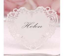 """Stalo-vardų kortelės """"Širdelės"""", baltos (10 vnt.)"""