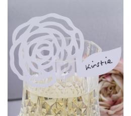 """Vardų kortelės ant taurių """"Baltos gėlės"""" (10 vnt.)"""