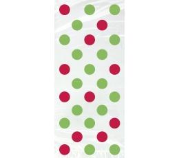 Dovanų maišeliai, raudonai-žaliai taškuoti (20 vnt.)