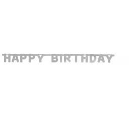 "Girlianda ""Happy Birthday"", sidabrinė (1,5 m)"