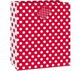 Dovanų maišelis, taškuotai raudonas (18x10x23 cm)