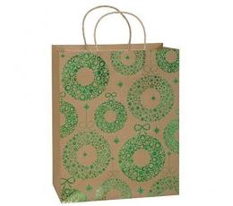 """Dovanų maišelis """"Žalios Kalėdos"""" (18x10x23 cm)"""