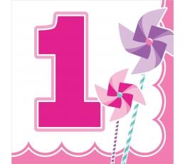 """Servetėlės """"Rausvi vėjo malūnėliai.1-asis gimtadienis"""" (16 vnt.)"""