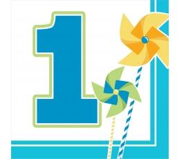 """Servetėlės """"Melsvi vėjo malūnėliai.1-asis gimtadienis"""" (16 vnt.)"""