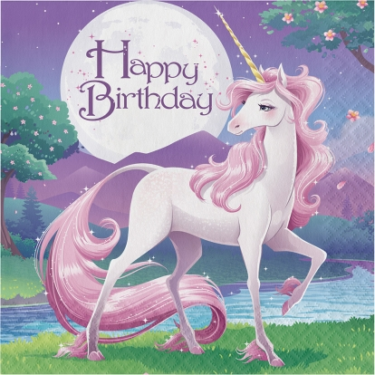 "Servetėlės ""Vienaragis.Happy Birthday"" (16 vnt.)"