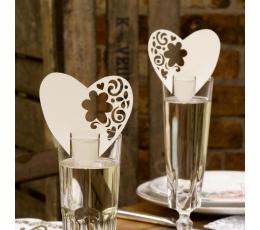 """Vardų kortelės ant taurių """"Gėlių širdys"""", šampaninės (10 vnt.)"""