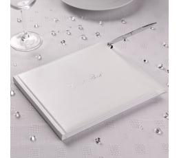 Svečių-palinkėjimų knyga, balta su rašikliu