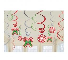 """Kabančios dekoracijos """"Kalėdų saldainiai"""" (12 vnt.)"""