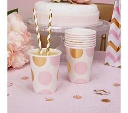 Puodeliai, rožiniai auksiniai taškuoti (8 vnt./266 ml)
