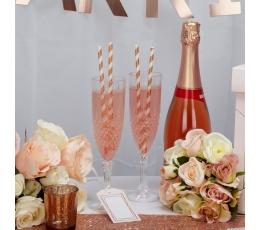 Šiaudeliai, rožinio aukso plačiai dryžuoti (25 vnt.)