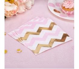 Servetėlės, rožiniai auksiniai zigzagai (16 vnt.)