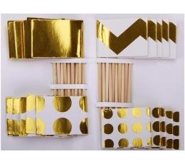 Smeigtukai-dekoracijos, balti auksiniai (20 vnt.)