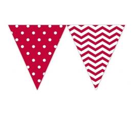 Vėliavėlių girlianda, raudoni zigzagai-taškeliai (9 vėliavėlės)