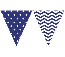Vėliavėlių girlianda, mėlyni zigzagai-taškeliai (9 vėliavėlės)