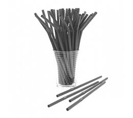 Šiaudeliai, juodi plastikiniai (50 vnt.)