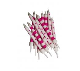Žvakutės, rožiniai baltos (12 vnt.)