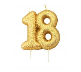 """Žvakutė """"18"""", auksinė"""