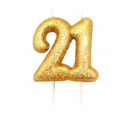 """Žvakutė """"21"""", auksinė"""