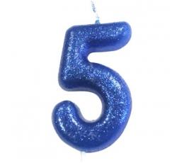 """Žvakutė """"5"""", mėlyna blizgi"""