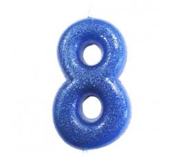 """Žvakutė """"8"""", mėlyna blizgi"""