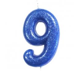 """Žvakutė """"9"""", mėlyna blizgi"""