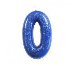 """Žvakutė """"0"""", mėlyna blizgi"""
