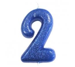 """Žvakutė """"2"""", mėlyna blizgi"""