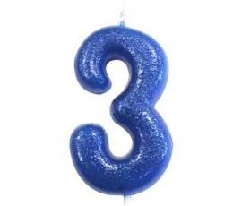 """Žvakutė """"3"""", mėlyna blizgi"""