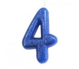 """Žvakutė """"4"""", mėlyna blizgi"""