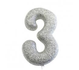 """Žvakutė """"3"""", sidabrinė"""
