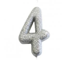 """Žvakutė """"4"""", sidabrinė"""