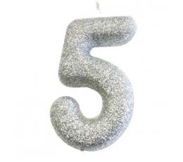"""Žvakutė """"5"""", sidabrinė"""