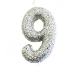 """Žvakutė """"9"""", sidabrinė"""