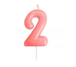 """Žvakutė """"2"""", rožinė blizgi"""