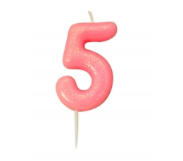 """Žvakutė """"5"""", rožinė blizgi"""