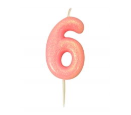 """Žvakutė """"6"""", rožinė blizgi"""
