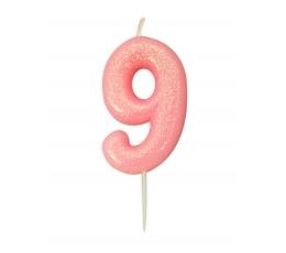 """Žvakutė """"9"""", rožinė blizgi"""