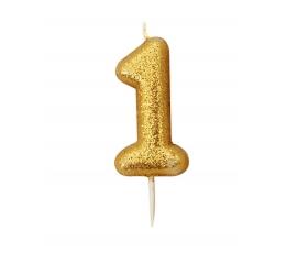 """Žvakutė """"1"""", auksinė"""