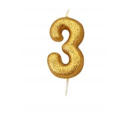 """Žvakutė """"3"""", auksinė"""