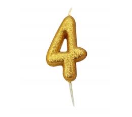 """Žvakutė """"4"""", auksinė"""